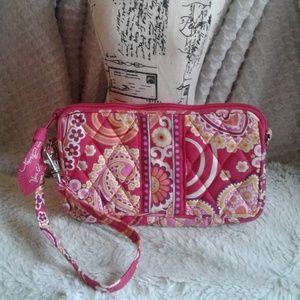 Vera Bradley Wristlet, Zipper, Pink, Floral